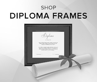 Picture of a rolled diploma and framed diploma. Click to shop Diploma Frames.